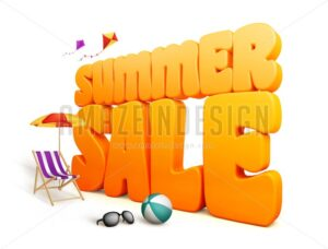 3D Dimensional Summer Sale Title Word - Amazeindesign