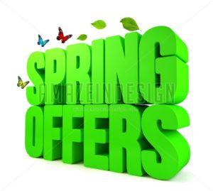 3D Spring Offers Green Word Isolated - Amazeindesign