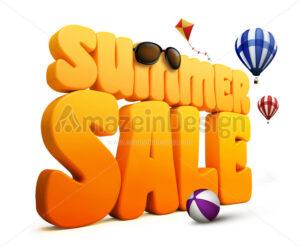 3D Summer Sale Title Word in White - Amazeindesign