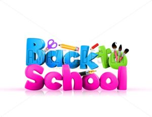 Back to School Illustration Colorful 3D Rendered - Amazeindesign