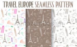 Set of Travel Europe Seamless Pattern Vector