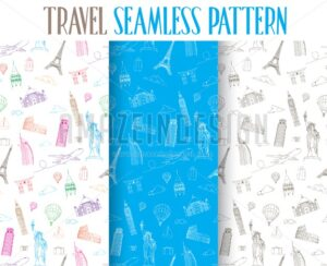 Set of Travel Seamless Pattern Vector