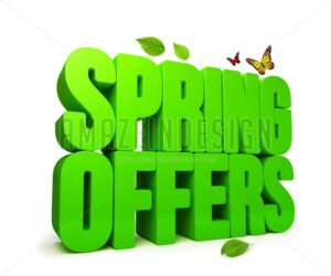 Spring Offers Green 3D Word Isolated - Amazeindesign