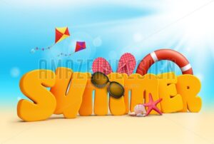 Summer 3D Text Design - Amazeindesign