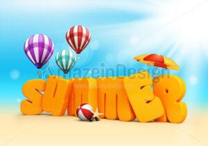Summer Text 3D Rendered Illustration - Amazeindesign