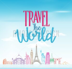 Travel The World Design Background in Vector