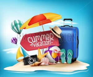3D Realistic Vector Summer Vacation Design