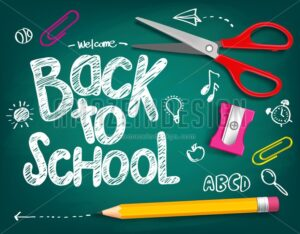 Welcome Back to School Title Vector Illustration - Amazeindesign