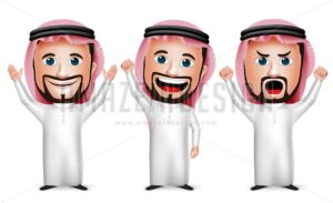 Saudi Arab Man Cartoon Character Raising Hands