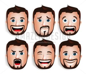 Handsome Man Head with Facial Expressions in Vector