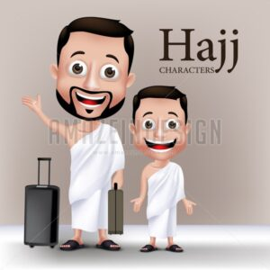 Man and Kid Vector Characters Wearing Ihram Clothes - Amazeindesign