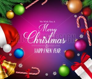 Merry Christmas Vector Background and Decorations - Amazeindesign