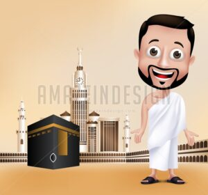 Muslim Man Character Performing Hajj in Kaaba