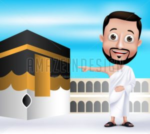 Muslim Man Character Wearing Ihram Clothes