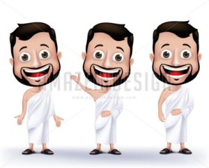 Vector Set of Muslim Man Wearing Ihram Cloths
