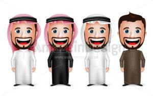 Saudi Arab Man Cartoon Character Set in Vector