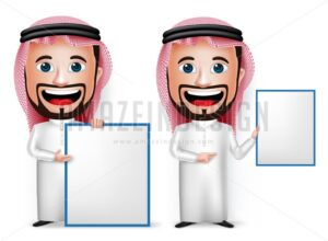 Saudi Arab Man Cartoon Character Showing Blank Board