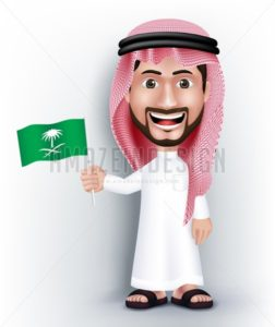 Saudi Arab Man Character Holding Flag in Vector