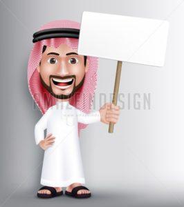 Saudi Arab Man Character Holding White Blank Board