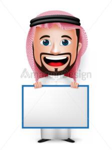 Saudi Arab Man Character Holding Blank White Board