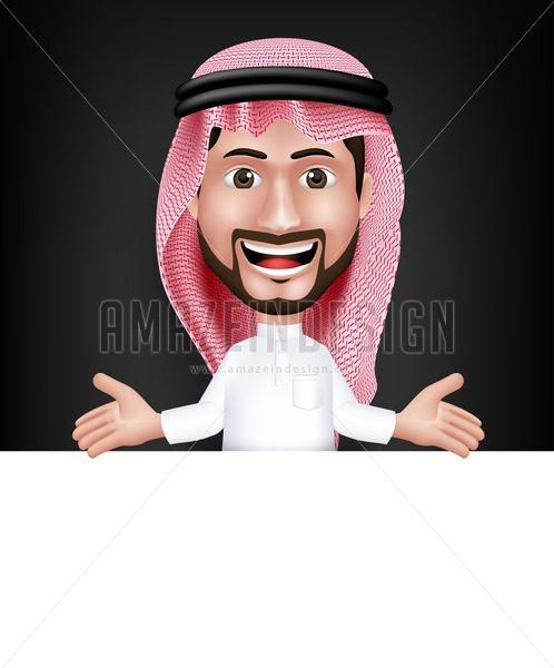 Saudi Arab Man Character Showing White Board