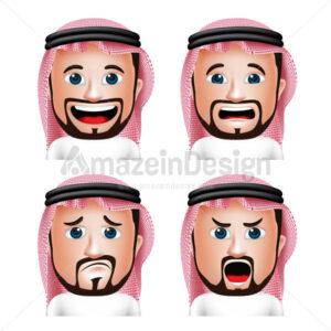 Saudi Arab Man Head with Facial Expressions in Vector
