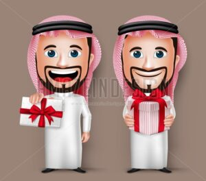 Saudi Arab Man Cartoon Character Holding Gift Vector