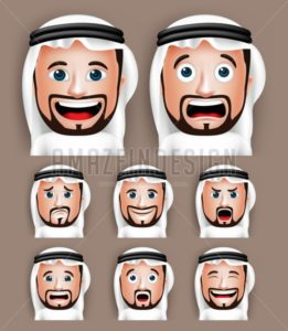 Set of 3D Realistic Vector Arab Man Head