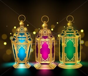 Set of Vector Lantern or Fanous in Gold