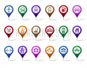 Set of Vector Pin Icons for Travel Destination - Amazeindesign