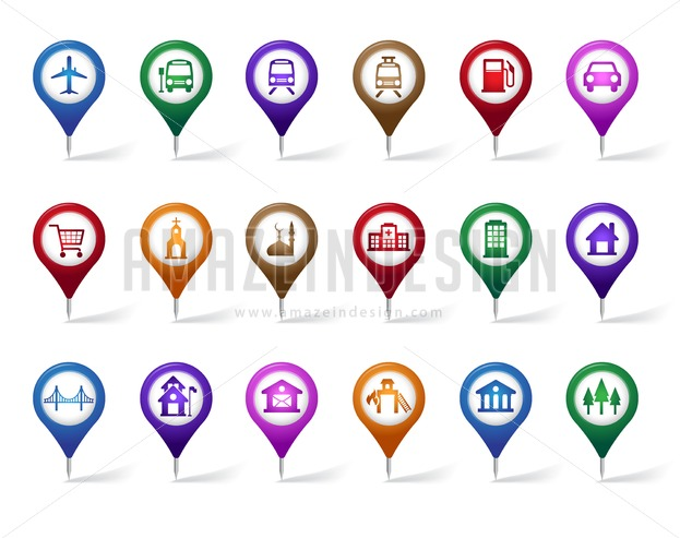 Map Pointer Icon Pin Icon Location Sign Mark Icon: Set Of Vector Pin Icons For Travel Destination