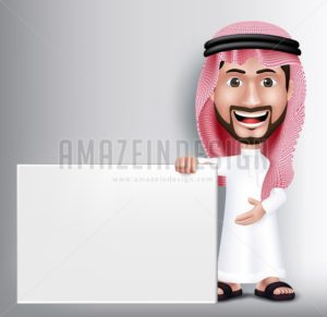 Arab Man Character Holding White Blank Board