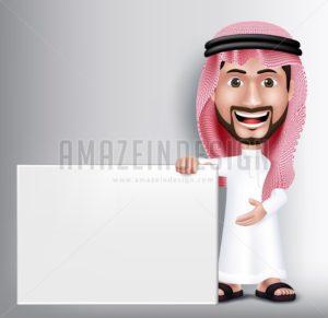 Arab Man Character Holding White Blank Board