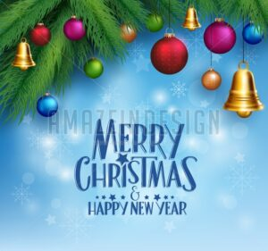 Christmas Greetings with Hanging Colorful Bells