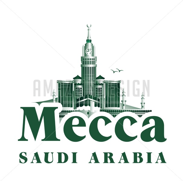 Vector City of Mecca Famous Buildings