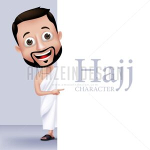 Vector Muslim Man Character Wearing Ihram