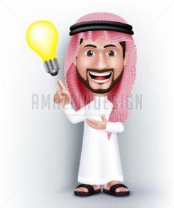 Vector Saudi Arab Man Character with Idea - Amazeindesign