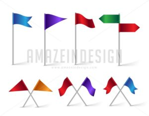 Vector Set of Flag Icons for Navigation and Maps