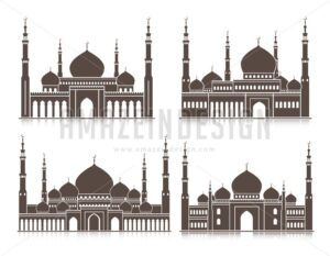 Vector Set of Silhouette Mosque or Masjid