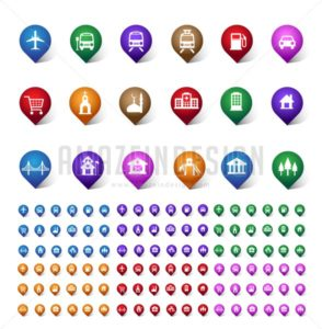 Vector Set of Travel and Destination Pin Icons - Amazeindesign