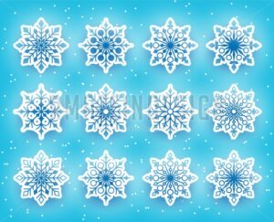 Vector Snowflakes Set for Winter - Amazeindesign