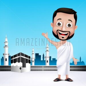 Muslim Man Character in Kaaba Wearing Ihram