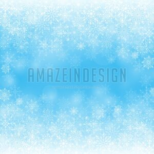 Winter Snow Background with Different Snowflakes