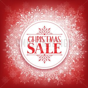 Christmas Sale Vector in Winter Snow Flakes