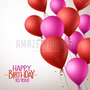 Colorful Pink and Red Happy Birthday Balloons