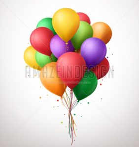 Colorful Birthday Balloons Flying for Party Vector
