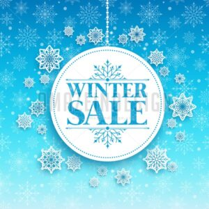 Winter Sale Text in White Space with Snow - Amazeindesign