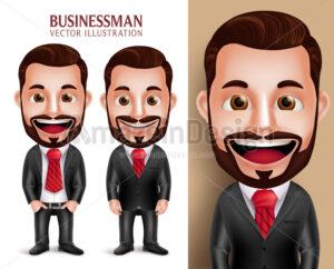Business Man Vector Character Happy Attractive