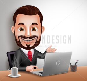 Business Man Vector Character Happy Working