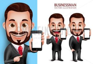 Business Man Vector Character Holding Mobile Phone